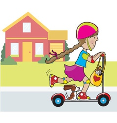 scooter girl and house vector image