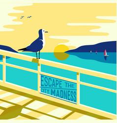 Seagull on seashore vector