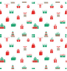 seamless gift pattern red and green gift vector image