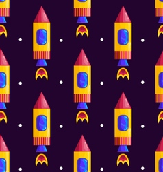 Seamless pattern with rockets vector