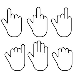 Set gestures of the fingers of the hand palm vector