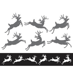Set of different running and jumping Christmas vector