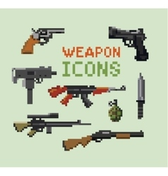 Set of Pixel Gun Icons vector image