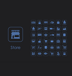 set of store simple icons vector image