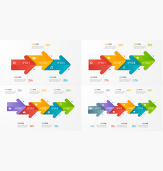 Set timeline chart infographic templates vector