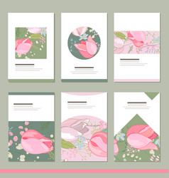 set with six floral romantic templates tulips and vector image