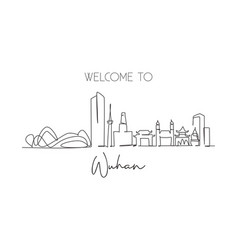 single continuous line drawing wuhan skyline vector image