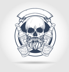Sketch barman skull vector