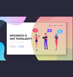 Social media website landing page young people vector