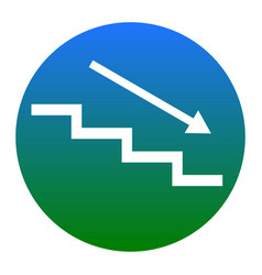 stair down with arrow white icon in vector image