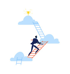 Successful businessman climbing career ladder vector