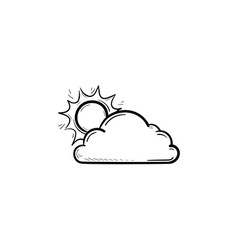 sun with cloud hand drawn outline doodle icon vector image