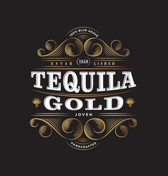 Tequila gold label packaging curl decor vector