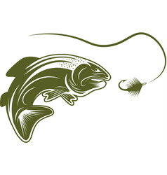 Trout fish and lure design template vector