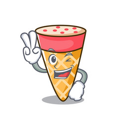 two finger ice cream tone character cartoon vector image