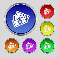 Us dollar icon sign Round symbol on bright vector image