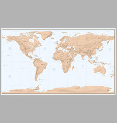 vintage world map retro countries boundaries vector image