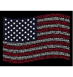 Waving american flag stylization of usa text items vector