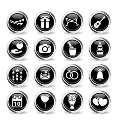 wedding simply icons vector image