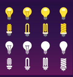 White silhouettes and colorful light bulbs icons vector