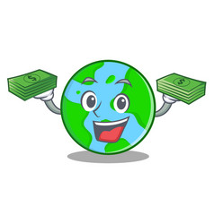 with money world globe character cartoon vector image