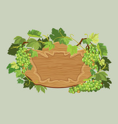 Wooden oval frame with green grapes and leaves vector