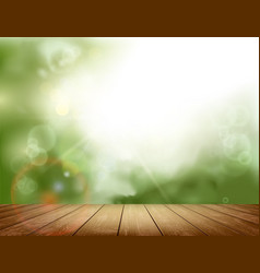 wooden table on natural background vector image