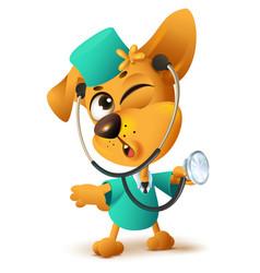 Yellow dog doctor vet keeps stethoscope vector