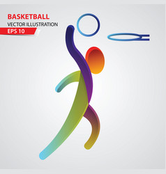 basketball color sport icon design template vector image vector image