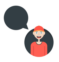 boy in red baseball cap with speech bubble vector image
