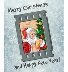 Frame of selfie of Santa Claus with beer vector image