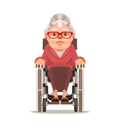 happy smiling old woman character sitting wheel vector image vector image