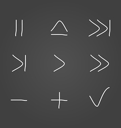 Multimedia set icons draw effect vector image