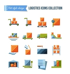 Set of delivery and logistics systems flat icons vector image vector image