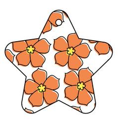 star tag japanese flower sakura culture vector image vector image