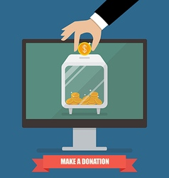 Hand donating money by online payments vector image vector image