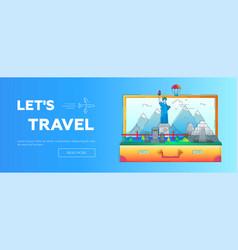 lets travel - line travel web page header vector image