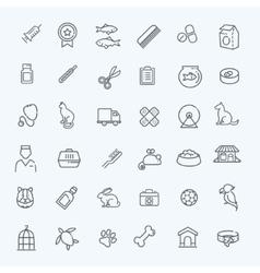 Outline web icon set - pet vet pet shop vector image