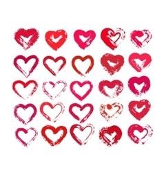 Painted hearts from grunge brush strokes vector