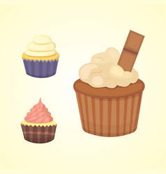 printset of cute cupcakes and muffins vector image vector image