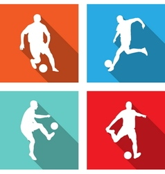 soccer players flat icons vector image vector image