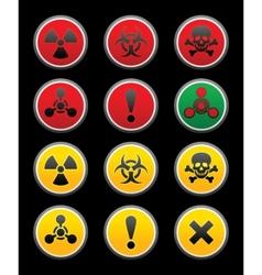 symbols of hazard black background vector image