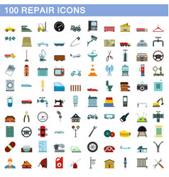 100 repair icons set flat style vector image
