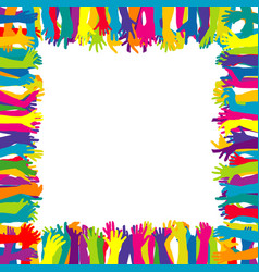 colorful frame with hand silhouettes vector image vector image