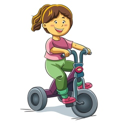 Girl riding tricyle vector