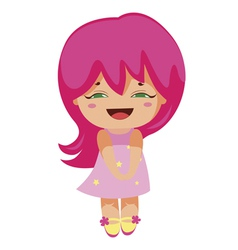 kawaii cheerful magic-pink baby-grl vector image vector image