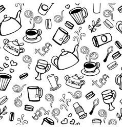 Tea and coffee seamless background vector image