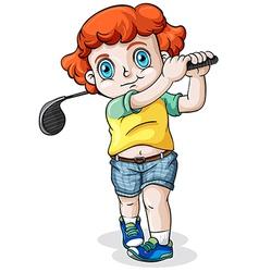 A caucasian boy playing golf vector