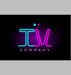 neon lights alphabet tv t v letter logo icon vector image