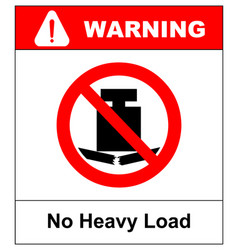no heavy load do not place heavy objects on vector image